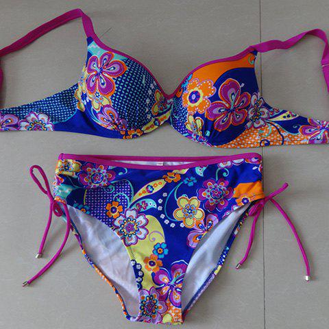 Outfits Refreshing Spaghetti Strap Push-Up Floral Print Women's Bikini Set