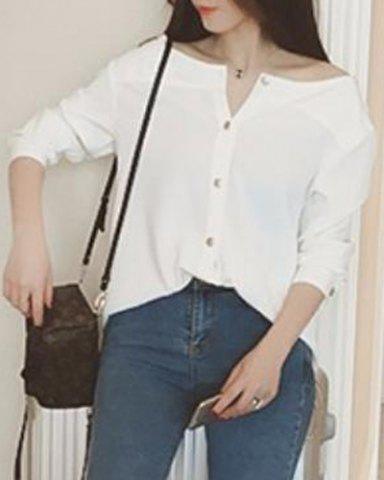 Trendy Brief Boat Neck Solid Color Long Sleeve Blouse For Women WHITE L