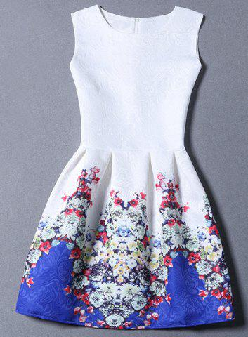 Jacquard Short Fit and Flare Dress - Blue - Xl