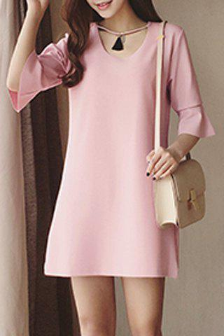 Outfit Chic Scoop Neck Solid Color Bell Sleeve Dress For Women