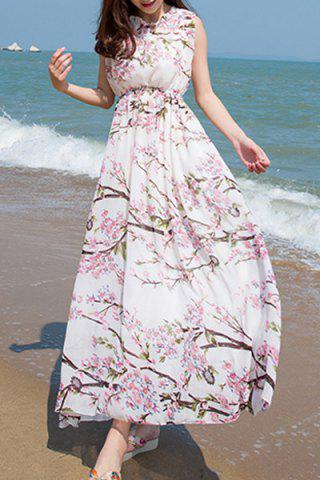 Trendy Chiffon Floral Backless Long Dress