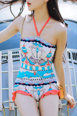 Outfits Cute Halter Candle Print Flounce Backless One-Piece Swimwear For Women