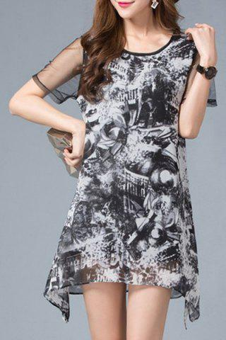 Unique Graceful Scoop Neck Short Sleeves Printed Mesh Spliced Dress For Women