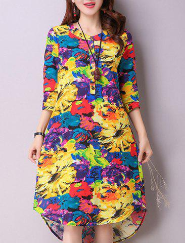 Shops Casual Jewel Neck 3/4 Sleeves Color Block Dress For Women