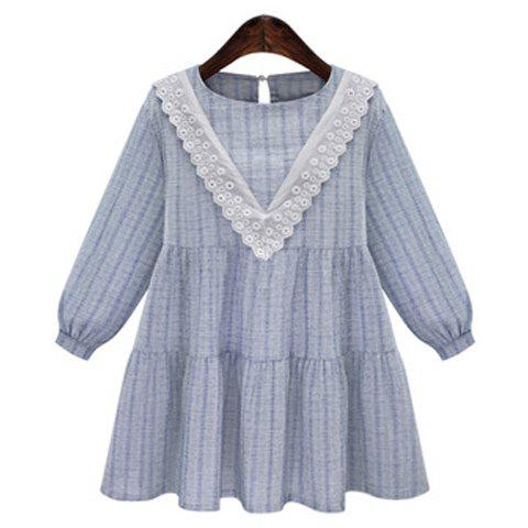 Fashion Sweet Jewel Neck Long Sleeves Floral Dress For Women