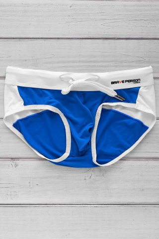 New Color Block Letter Printed Sexy Men's Swimming Trunks AZURE S