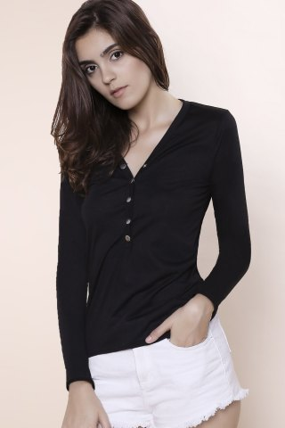 Best Sexy Plunging Neckline Solid Color Long Sleeves T-Shirt For Women - S BLACK Mobile