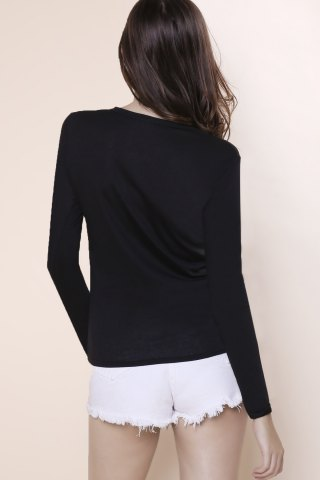 Sale Sexy Plunging Neckline Solid Color Long Sleeves T-Shirt For Women - S BLACK Mobile