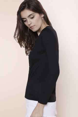 Cheap Sexy Plunging Neckline Solid Color Long Sleeves T-Shirt For Women - S BLACK Mobile