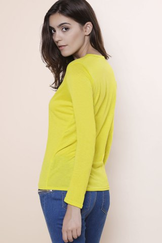Buy Sexy Plunging Neckline Solid Color Long Sleeves T-Shirt For Women - S YELLOW Mobile
