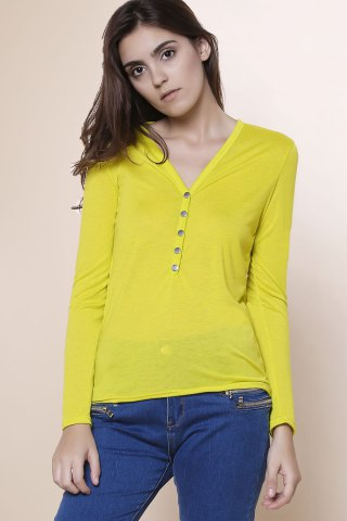 Trendy Sexy Plunging Neckline Solid Color Long Sleeves T-Shirt For Women - S YELLOW Mobile
