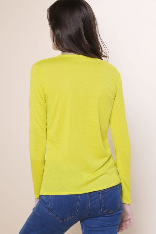 Unique Sexy Plunging Neckline Solid Color Long Sleeves T-Shirt For Women - S YELLOW Mobile