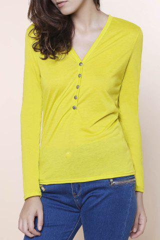 Chic Sexy Plunging Neckline Solid Color Long Sleeves T-Shirt For Women YELLOW S
