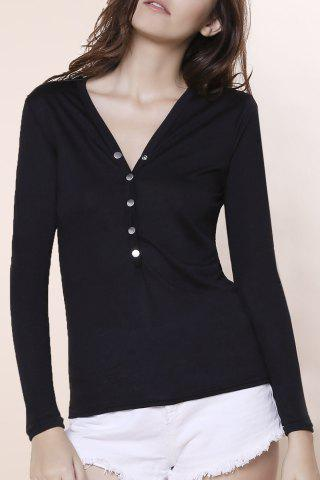 Best Sexy Plunging Neckline Solid Color Long Sleeves T-Shirt For Women - BLACK M Mobile