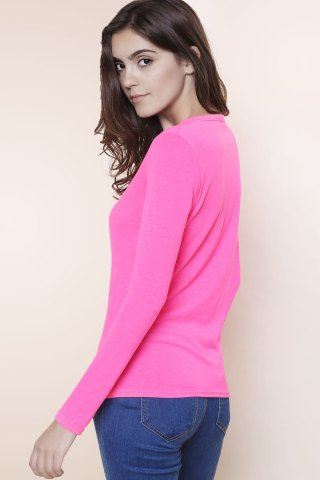Hot Sexy Plunging Neckline Solid Color Long Sleeves T-Shirt For Women - S PLUM Mobile