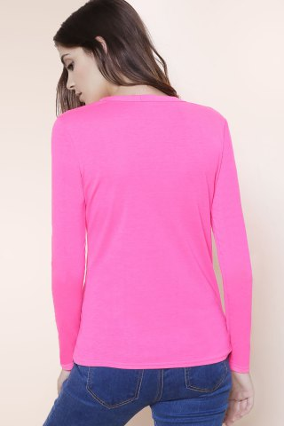 Fashion Sexy Plunging Neckline Solid Color Long Sleeves T-Shirt For Women - S PLUM Mobile