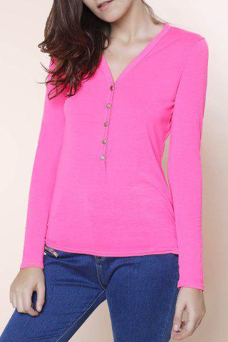 Fashion Sexy Plunging Neckline Solid Color Long Sleeves T-Shirt For Women - PLUM L Mobile