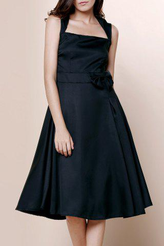 Trendy Vintage Turn-Down Collar Sleeveless Solid Color Bowknot Embellished Women's Dress