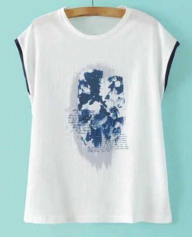 Outfit Casual Jewel Collar Sleeveless Print T-Shirt For Women