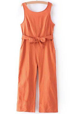Shops Casual Round Collar Sleeveless Bowknot Waist Backless Jumpsuit For Women