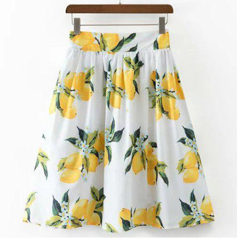 Outfit Casual High Waist Lemon Print Skirt For Women