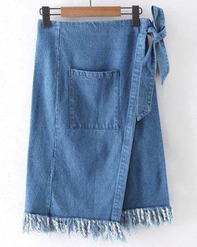 Best High Waist Raw Edge Denim Skirt