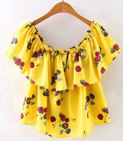 Sale Casual Off The Shoulder Flounce Print T-Shirt For Women