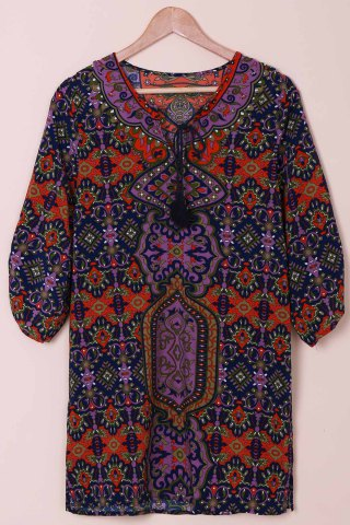 Sale Fashionable V-Neck Full Print 3/4 Sleeve Dress For Women COLORMIX S