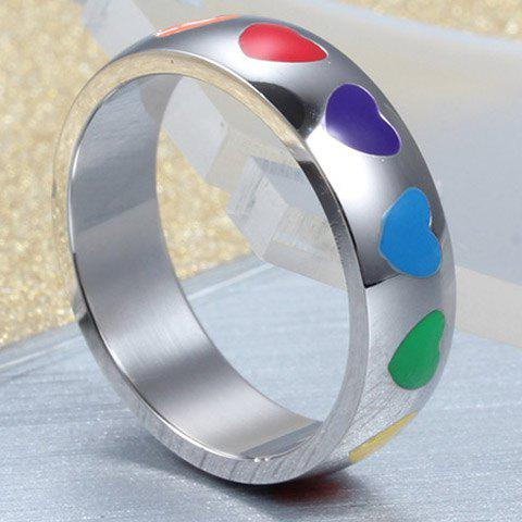 New Vintage Titanium Steel Colored Heart Ring For Women - ONE-SIZE SILVER Mobile