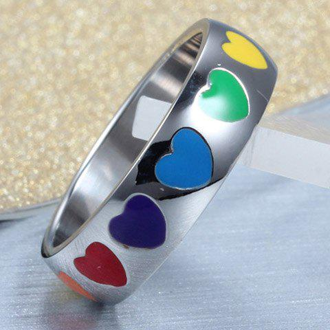 Affordable Vintage Titanium Steel Colored Heart Ring For Women - ONE-SIZE SILVER Mobile
