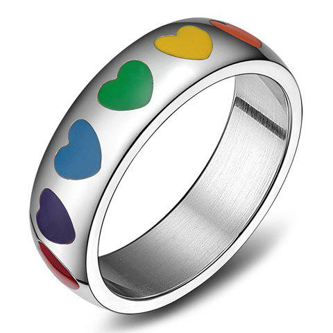 Vintage Titanium Steel Colored Heart Ring For Women - Silver - One-size