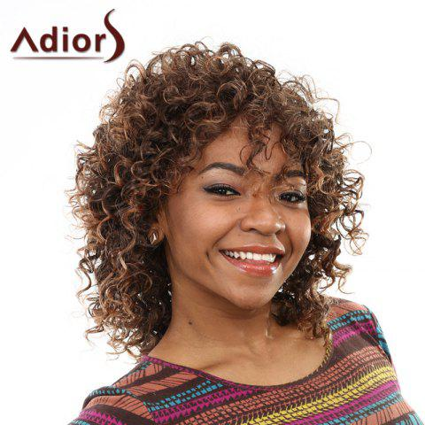 Shop Elegant Brown Mixed Medium Capless Fluffy Curly Side Bang Wig For Women BROWN
