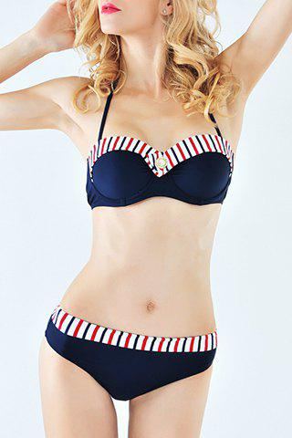 Outfits Stylish Halter Splice Stripe Print Women's Bikini Suit PURPLISH BLUE S