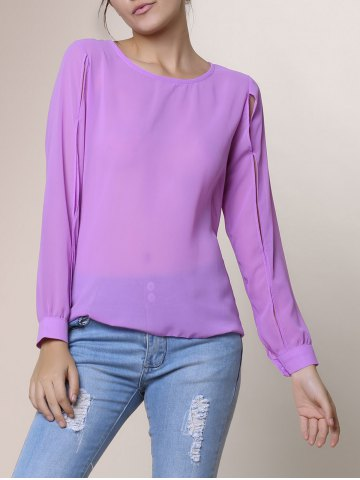 318b45968bee7c [74% OFF] Casual Jewel Neck Long Sleeve Hollow Out Chiffon Blouse For Women  | Rosegal