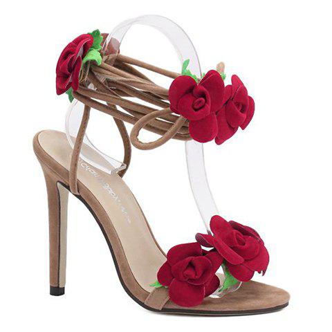 Shop Stylish Lace-Up and Flowers Design Sandals For Women