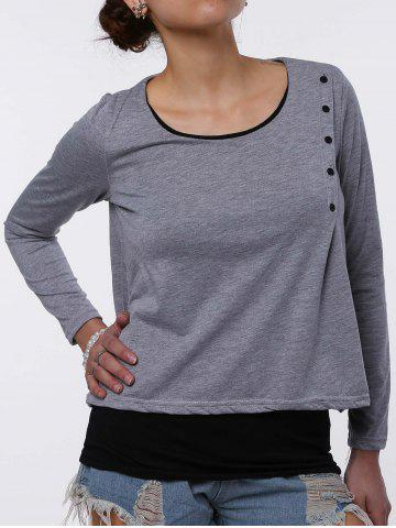 Store Stylish Scoop Neck Faux Twinset Design Long Sleeve T-Shirt For Women LIGHT GRAY M