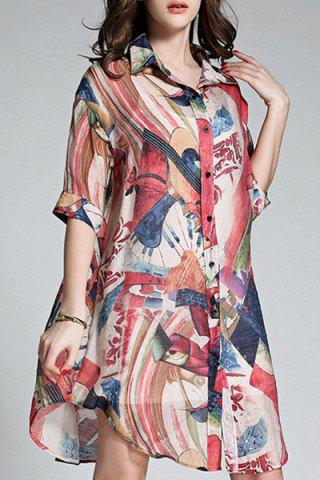 New Long Buttoned Colorful Printed Shirt COLORMIX L