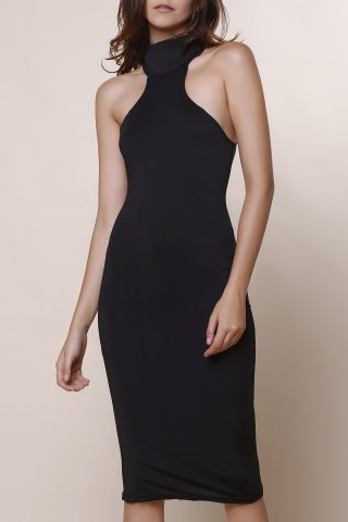 Buy Elegant Turtle Neck Solid Color Hollow Out Sleeveless Bodycon Dress For Women BLACK ONE SIZE(FIT SIZE XS TO M)