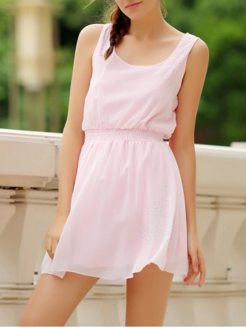 Buy Simple Square Neck Sleeveless Waist Drawstring Solid Color Women's Dress LIGHT PINK S