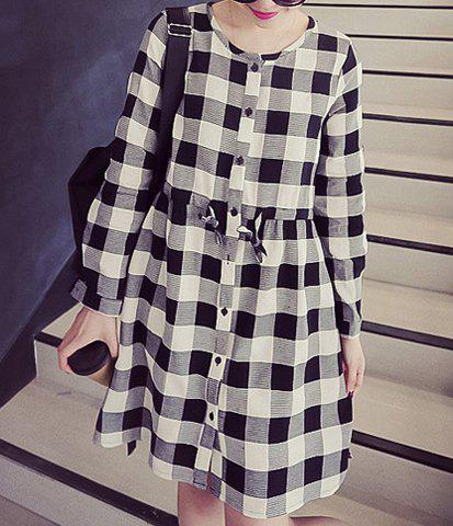 Affordable Casual Jewel Neck Long Sleeves Lace Up Dress For Women