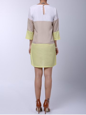 Trendy Casual Round Neck 3/4 Sleeve Color Block Loose-Fitting Women's Dress - XL YELLOW Mobile