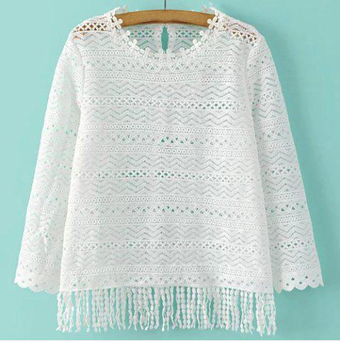 Affordable Casual Round Collar 3/4 Sleeve Hollow Out Fringe T-Shirt For Women