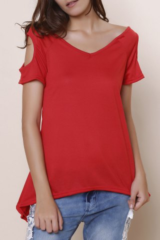 Cheap Stylish V-Neck Solid Color Cut Out Short Sleeve T-Shirt For Women RED S