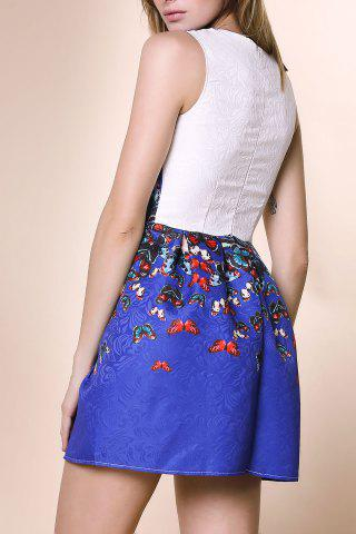 Buy Sweet Round Neck Sleeveless Butterfly Print Dress For Women