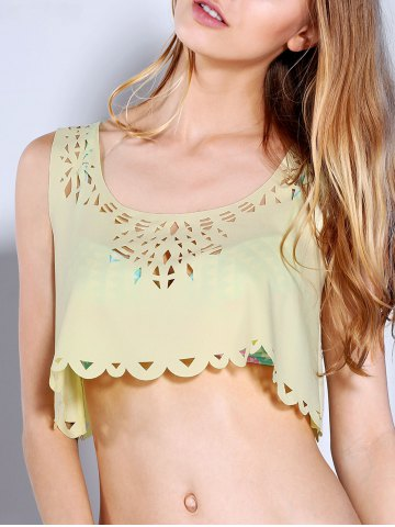 Outfits Scoop Neck Laser Cut Crop Tank Top