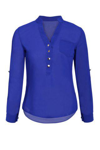 Online Simple Style V-Neck Chiffon Solid Color Long Sleeve Women's Blouse BLUE M