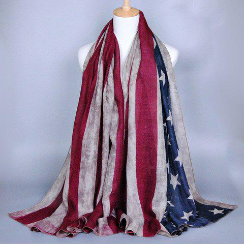 Affordable Chic Stars and Stripes Pattern American Flag Voile Scarf For Women KHAKI