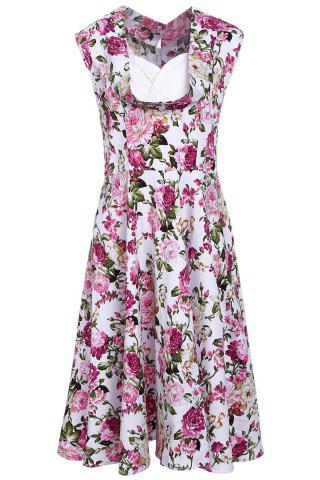 Affordable Stylish Sweetheart Neck Sleeveless Floral Print Women's Dress