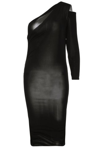 Fashion Sexy One ShoulderCocktail Long Sleeve Black Dress BLACK ONE SIZE