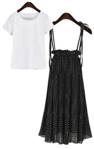 Store Short Sleeve T-Shirt + Polka Dot Suspender Skirt